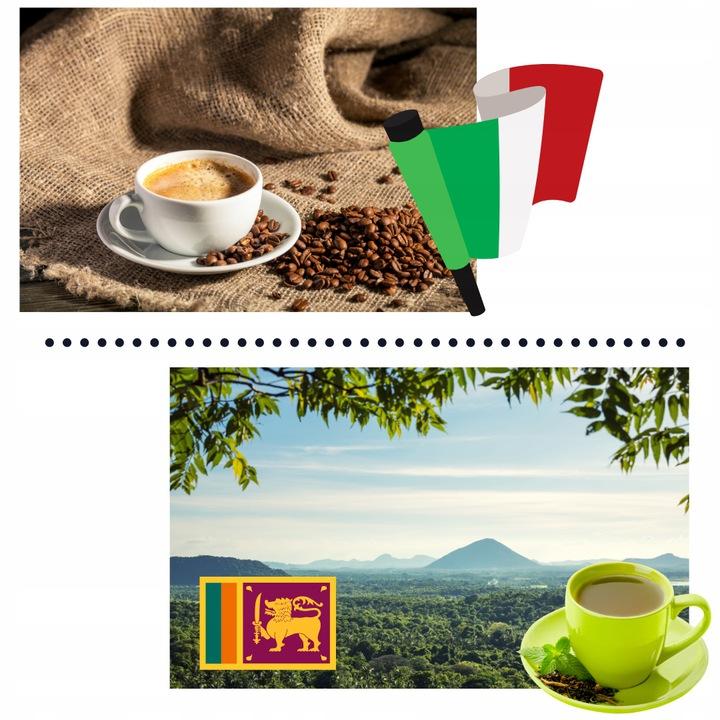 Kosz prezentowy składa się z włoskich kaw i cejlońskich herbat